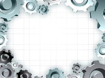 Gears frame industrial technic border. Illustration Royalty Free Stock Photos