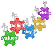 Gears Going Up Values Belief Integrity Faith Virtue. Several people walking or marching up gears with the words Values, Belief, Integrity, Faith and Virtue to Stock Image