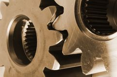 Gears in gold Royalty Free Stock Photography