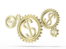 Gears with a gold dollar sign Royalty Free Stock Photos