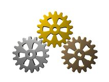 Gears (Gold, Silver, Bronze) - Isolated Stock Photo