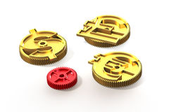 Gears with golden dollar sign, pound, euro symbol, 3D illustrati Royalty Free Stock Photos