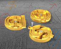 Gears with golden dollar sign, pound and euro symbol Royalty Free Stock Photos