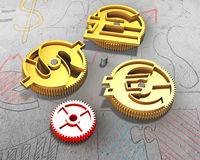 Gears with golden dollar sign, pound and euro symbol Royalty Free Stock Images