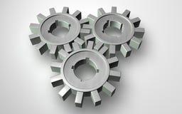 gears grått stål som fungerar tillsammans Royaltyfri Fotografi