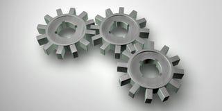 gears grått stål som fungerar tillsammans Royaltyfria Foton