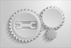 The gears on gray background with shadows. Stock Photos