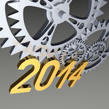 Gears 2014 on gray. Rendered 3d scene - Year 2014 and silver gears on gray background Stock Image