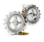 Gears with grease Royalty Free Stock Photos