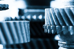 Gears, grunge cogwheels, real engine elements close-up. Heavy industry Royalty Free Stock Photo