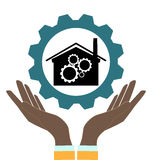 Gears in hands. Plant vector icon, gears in hands stock illustration