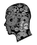 Gears in head. Human head with metal gears isolated on white background Royalty Free Stock Photos