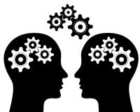 Gears in head black Stock Photography