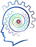 Gears Head. Gears in the head of a thinking isolated illustrated image Royalty Free Stock Photos