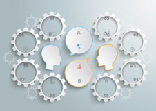 8 Gears 2 Heads Speech Infographic. 8 gears with 2 heads and speech bubbles wheels on the gray background vector illustration