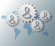 Gears with heads and world map background Stock Image
