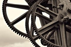 Gears at a historic crane Stock Photography