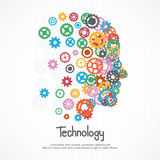 Gears human face for technology. Royalty Free Stock Image