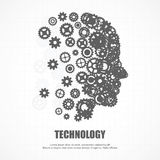 Gears human face for technology. Royalty Free Stock Images