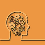 Gears in human head, Thinking process. Vector Stock Images