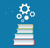 Gears icon on books icon design vector illustration, education concepts Stock Images