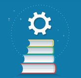 Gears icon on books icon design vector illustration, education concepts Royalty Free Stock Images