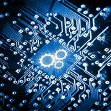 Gears icon on computer chip. Technology concept Royalty Free Stock Photos