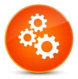 Gears icon elegant orange round button Royalty Free Stock Image