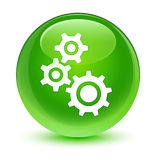 Gears icon glassy green round button. Gears icon isolated on glassy green round button abstract illustration Royalty Free Stock Photo