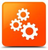 Gears icon orange square button Royalty Free Stock Photos