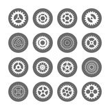 Gears icon set in circles. Isolated on white background. Vector illustration vector illustration