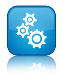 Gears icon special cyan blue square button Royalty Free Stock Photography