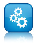 Gears icon special cyan blue square button Stock Images