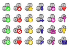 Gears icons. Big silver gears collections of web icons Royalty Free Stock Photos