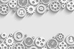 Gears with icons inside. Add friend, bubble, lock and other Stock Image