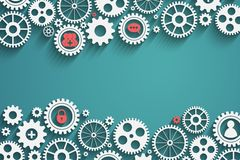 Gears with icons inside. Add friend, bubble, lock and other, vector eps10 Stock Photos