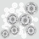 Gears. Illustration with  gears symbol on a gray background for your design Royalty Free Stock Photos