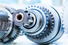 Gears, impaled on the shaft spline. Stock Image