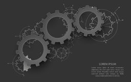 Gears In Engagement. Engineering Drawing Abstract Industrial Background With A Cogwheels. Stock Photo