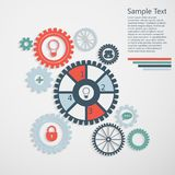 Gears info. Gears with icons inside, add friend, bubble, lock and other. Infographics design Royalty Free Stock Image