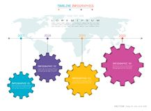 Gears infographic template for business presentation, Strategic plan to define company values. Royalty Free Stock Photos