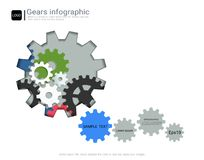 Gears infographic template for business presentation, Strategic plan to define company values. Stock Images