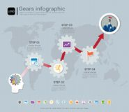 Gears infographic template for business presentation, Strategic plan to define company values. Royalty Free Stock Image