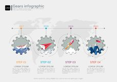 Gears infographic template for business presentation, Strategic plan to define company values. Royalty Free Stock Images