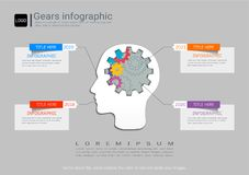 Gears infographic template for business presentation, Strategic plan to define company values. Stock Photos