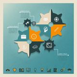 Gears infographics. Vector gears infographics business concept with icons ant text place Royalty Free Stock Photos