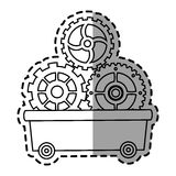 Gears inside cart design. Gears inside cart icon. Cog circle wheel machine part and technology theme. Isolated design. Vector illustration Stock Photo