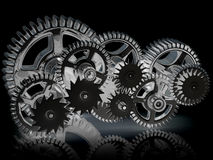 Gears isolated on black. Stock Images