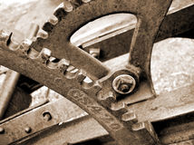 Gears and levers. On old farm plow Stock Image