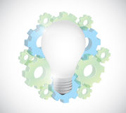 Gears and light bulb illustration design Stock Image